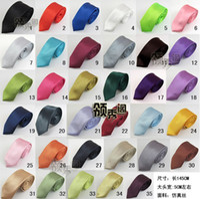 Wholesale 10pcs Multi Color Optional Polyester Men Neck Tie Skinny Solid Color Plain Satin Tie Wedding Business Accessories