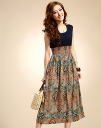 Wholesale 2012 summer new chiffon dresses bohemian retro pattern stitching sleeveless vest skirt