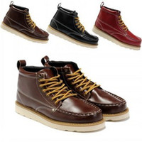 Wholesale Men s Fashion Shoes Mens ankle Boots motorcycle Martens boots Black Red Brown