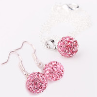 pink jewelry - US UK Hot sell gift Deluxe MM pink Bead Gorgeous crystal Braiding Earring Necklace set jewelry