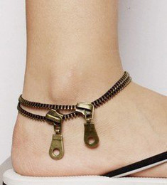 Vintage double zipper foot Bracelet Anklet Women's stylish Anklets Free Shipping 20pcs