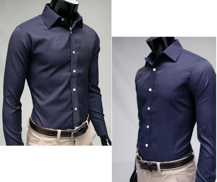 Fashion Men's Long Sleeve Dress Shirts Lapel Cotton Navy Blue ...