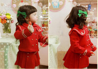 Girl 2-7years  90-100-110-120-130  new style Children's autumn winter girls overcoat+ Skirt,2 piece suit ,baby clothes 5set lot,