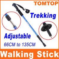 Wholesale 135cm Adjustable Telescopic AntiShock Trekking Hiking Walking Stick Pole quot quot with straps H8081