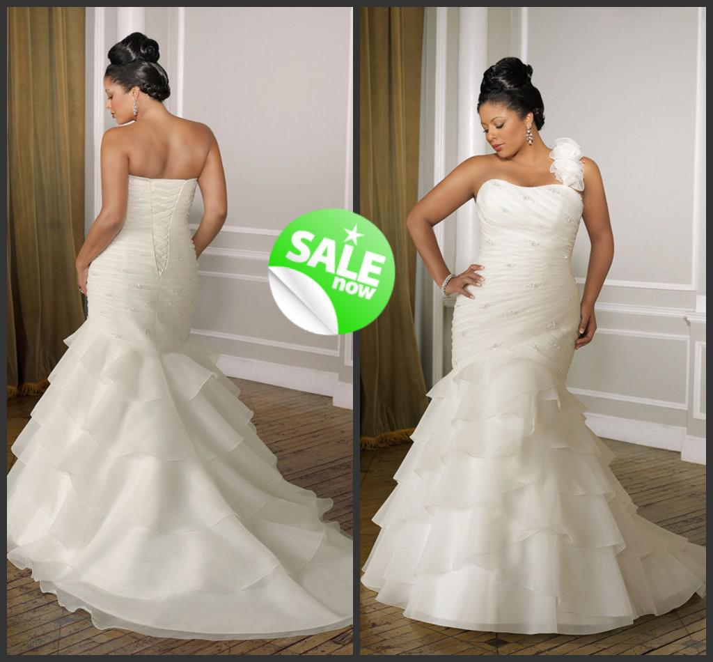 one shoulder plus size wedding dresses