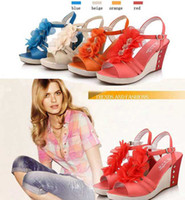 Red Women Wedge New Platform High Heels Wedge Pump Sandals Women Shoes Blue Orange Beige Red Size 35-39