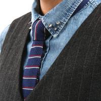 Precio de Lazo de lana-tejidos de punto corbatas a rayas de los lazos de los hombres de cuello corbata de lana de corbatas slim lazos flaco empate mayorista corbata ascot