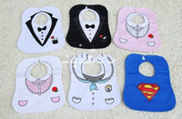 Wholesale The baby KIDS BLACK WHITE TUXEDO SUPERMAN BABY FEEDING BIBS EATING TOP China post