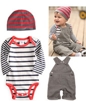 Wholesale New Baby suit Boy sets baby hat Stripe Romper suspender trousers Children s Outfits Sets