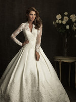 Wholesale ivory long sleeved Lace wedding Dresses with V neckline amp bolero jacket AB8874