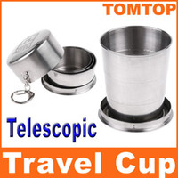 Wholesale Stainless Steel Portable Mini Travel Retractable Cup with Keychain cm Telescopic cups H8088M