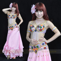 Wholesale 2012 newsexy woman belly dance costumes bras pants belts pink set