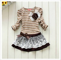 Wholesale 2012 Autumn girls stripe princess dress child dress kids dresses Baby dresses children Clothing Wear