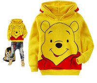 Unisex 3-8Y 90 100 110 120 130 140  New arriving Autumn Kids boys Clothes Little Bear Children yellow hoodies baby Long T-shirt clothing