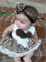 Wholesale Leopard lace Brown new girls tutu skirt dress short sleeve TuTu dress