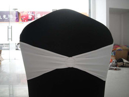 White Spandex Chair Bands With Round Rhinestone Spandex Chair Bows With Diamond Buckle 100PCS A Lot Free Shipping
