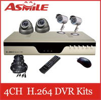 Wholesale Low Price Chanel H CCTV DVR Kit with Night Vision CMOS Cameras from asmile