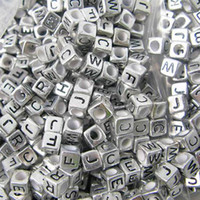 Wholesale Cube Acrylic Beads Silver Black Alphabet mm Loose Charm Craft Beads JF9044