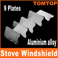 camping stove - Sliver Plates Fold Foldable Outdoor Camping Stove Wind Shield Screen for Camping Picnic H8146