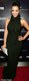 Wholesale Kim kardashian High neck Sheath Black Sexy Designer Long Celebrity Dresses Pageant evening Dress
