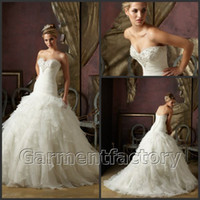 Wholesale Fall Fit and Flare Wedding Gowns Ivory Organza Wedding Dress Cheap China Clothing
