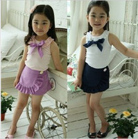 Wholesale Baby Girls vest skirt shorts summer outfits purple blue