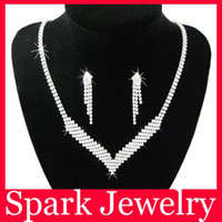 Wholesale Bride Necklace Set Rhinestone Wedding Necklace Bridal Jewellery Set Sets N3