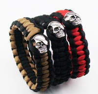 Wholesale Mix color quot Paracord Parachute Cord Handmade Survival Skull Bracelets Outdoor bracelet