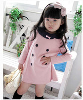 New dress baby girls lapel long sleeve A dress #1938