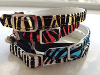 Wholesale pet products cat collar zebra pattern leopard four colors shoe buckle