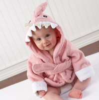 Wholesale Baby Pink animal hooded bathrobe bath towel bath terry bathing robe for kids infant