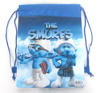 Wholesale NEW Cartoon The Smurfs Dora Drawstring Backpack Cute bag Party Gift