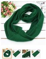 Wholesale Korean collar high grade cotton scarf Monochrome rabbit knitting wool BKW dark green women and men