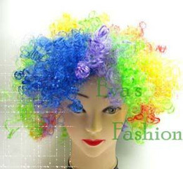 Wholesale Soccer Fan Wig Wild Cure Synthetic Colorful Unisex Explosive Cosplay Wig and Latex Clown Party Mask