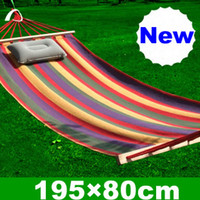 Wholesale Hot Sale Color Canvas Hammock With Stick Hang Sleeping Bed for Camping Outdoor Supplies SP56B