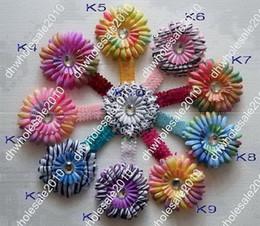 Wholesale 48pcs Inch Sequin Headbands Inch Double color Rainbow Gerber Flower Hair Clips Q12lkj