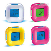Wholesale NEW HOT SALE Rotating clock thermometer calendar timer small alarm clock color random FREE SH