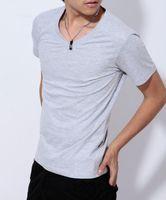 Male t- shirts Men's Short Sleeve V- neck t- shirts Mens Cotton...