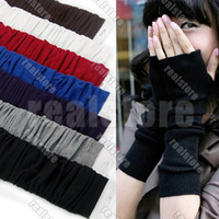 Wholesale 7 Pair Fashion Soft Wrist Warmer Fingerless Long Stretchy Mitten Gloves