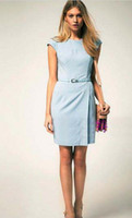 2015 New Fashion Dresses Work dress Blue Round Collar Sleeve...