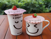 Wholesale cute strawberry designed magic silicone coffee cup cover lid safe and eco silicone lids
