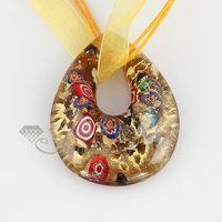 bulk glitter - Glitter millefiori teardrop Italian venetian lampwork glass pendants for necklaces jewelry fashion jewelry in bulk MUP107