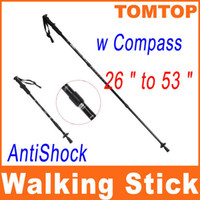 "Trekking Poles manganese steel  Hiking Adjustable Telescopic AntiShock Trekking Hiking Walking Stick Pole 26 "" to 53 "" with Compass H8307"