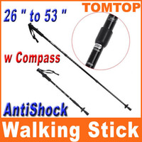Wholesale Folding Outdoor Walking Stick Crutch Ultra Light Climbing Camping Hiking Stick with Compass H8307