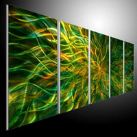 Wholesale Metal Wall Art Abstract Modern Sculpture Painting Handmade Panels Melted Gold a16