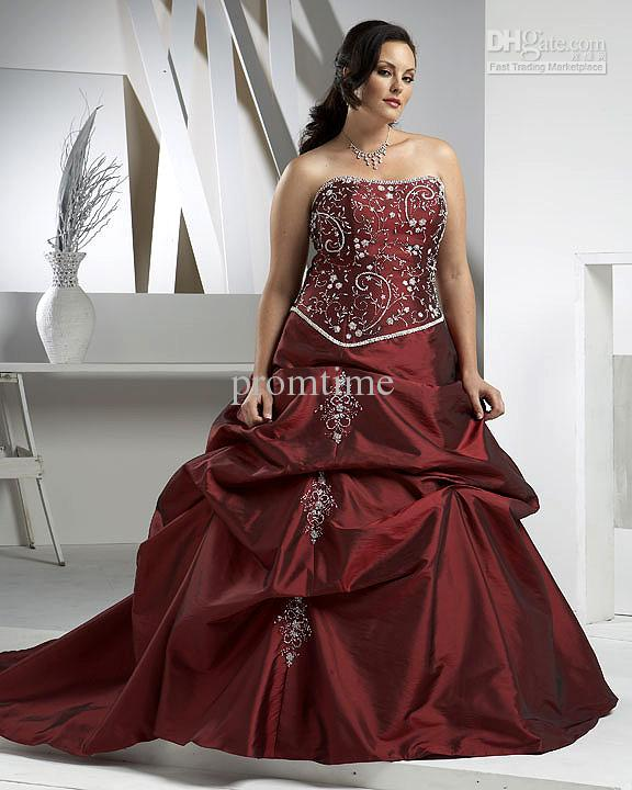 Burgundy accent beaded embroidery bridal gown plus size for Burgundy wedding dresses plus size
