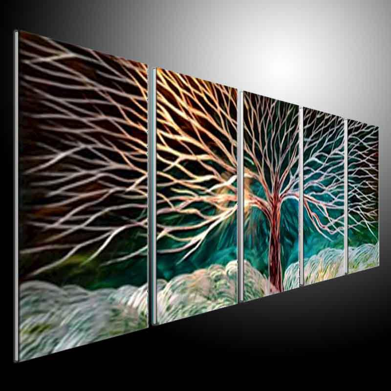 Metal Wall Art Abstract Modern Sculpture Painting Handmade 5 Panels