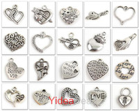 Wholesale Bulk x Mix Heart Shape Tibetan silver Charms Pendant Fit Necklace