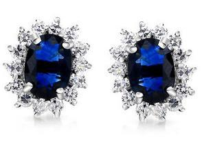 Stud Earring Natural Sapphire Earrings 925 Silver Plated