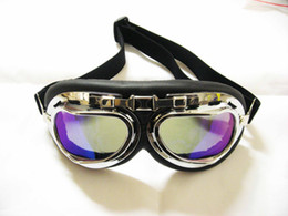 MOTORCYCLE GOGGLES WITH CHROME FRAME WIHT TINTED LENS MOTORCYCLE GOGGLE moto bicycle sunglasses eyes wear glasses